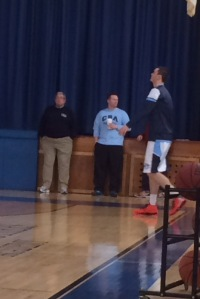Pat Andree warms up before a 2015 game against William Floyd NY